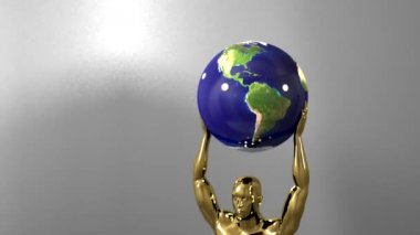 Trophy award ceremony intro with space for title text nomination gold man globe — Video Stock