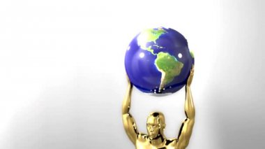 Trophy award ceremony intro with space for title text nomination gold man globe — Stock Video
