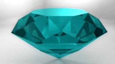 Sapphire topaz turquoise gemstone gem stone spinning wedding background loop — Vidéo