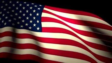 USA US American Flag Closeup Waving Backlit Seamless Loop CG — Stock Video