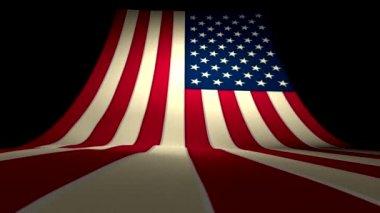 USA US American Flag Curving Upward Stars and Stripes Large Big — Stock Video