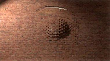 Brick wall break through demolish smash escape to white light 3 — Stock Video
