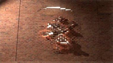 Brick wall break through demolish smash escape to white light 4 — Stock Video