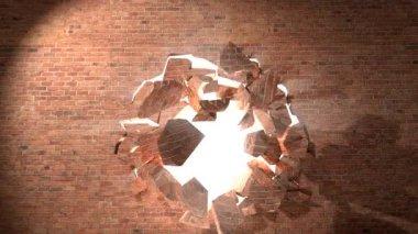 Brick wall break through demolish smash escape to white light — Stock Video