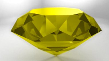 Yellow sapphire gemstone gem stone spinning wedding background loop — Stock Video