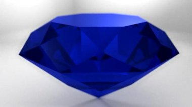 Sapphire blue diamond gemstone gem stone spinning wedding background loop — Stock Video