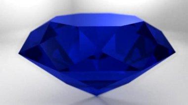 Sapphire blue diamond gemstone gem stone spinning wedding background loop — Stockvideo
