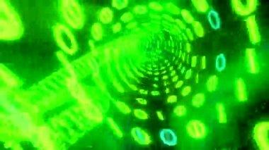 Binary tunnel wormhole flight through space warp speed dimension CRT green — Stock Video