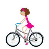 Ragazza in bicicletta — Vettoriale Stock