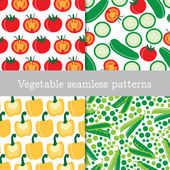 Four vegetable repeating patterns — ストックベクタ