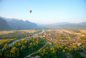 Colorful  hot air balloon in the sky.Laos. — Stock Photo