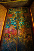 Wat Pho or Wat Phra Chetuphon,the Temple of the Reclining Buddha in Bangkok of Thailand.Ornament, texture,fresco — Stock Photo