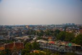 View of the city from above, houses and temples.View from the bird's flight.Bangkok.Thailand — Stock Photo