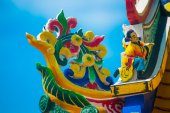 Chinese temple roof.A fragment of a Chinese temple. — Stock Photo