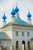 The Orthodox Church with blue domes in Russia. — Stock Photo