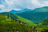 City of the dead.Stone tombs on the hill. The Caucasus.Russia. — Stock Photo