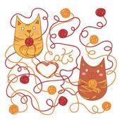 Glada katter — Stockvektor