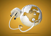 Electrical plug connects to USA and North America and provides it with electrical energy to power the homes and industries. — Stock Photo