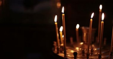 Cathedral. Chernivtsi, Ukraine. Candles. — Stock Video