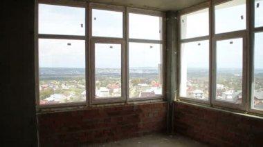 Construction. Building inside. Window. — Stock Video