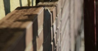 Construction. Man lays bricks. Close up. — Stock Video