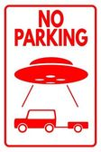 "Sign ""No parking - UFO"" — Stock Vector"