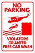 "Sign ""No parking - Violators granted free car wash"" — Stock Vector"