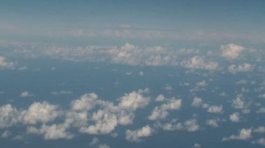 Aerial of clouds over the sea with blue sky — Stock Video