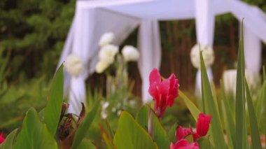 Jewish traditions wedding ceremony. Wedding canopy (chuppah or huppah). — Stock Video