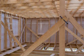 Unfinished wooden rail of frame house — Stock Photo