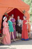 Five women in ancient Roman costumes — Stock Photo