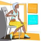 Kız modeli — Stok Vektör