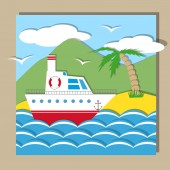Flat ship — Stock Vector