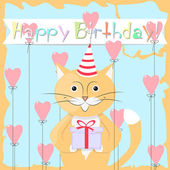 Gatto felice compleanno — Vettoriale Stock