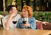 Loving couple in a cafe — Stock Photo