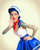 Surprised pinup girl — Stock Photo