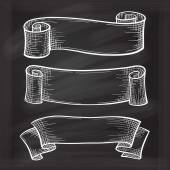 Vector set of chalk doodle scrolls and ribbons on the chalkboard background — Vetor de Stock