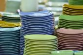 Stack of multicolored plates its was tile — ストック写真
