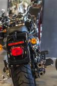 Rear view from of a motorcycle — Stock Photo