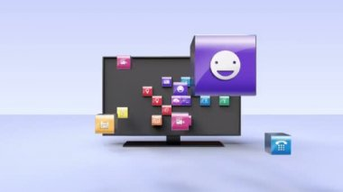 Various Applications into smart TV, wide TV concept(included Alpha) — Stock Video