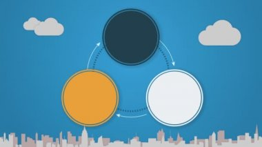 Circle diagram animation for topic introduction or explanation in Powerpoint presentations 3 — Vídeo stock