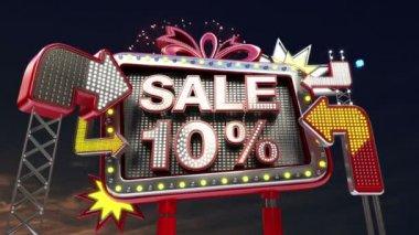 Sale sign 'SALE 10 percents' in led light billboard promotion. — ストックビデオ