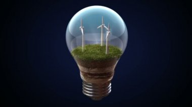 Wind energy makes the electric bulb, Eco-friendly enegry. — Stock Video