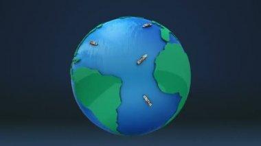 Pohyby dopravu pro obchodní podniky. mapa světa, země. — Stock video