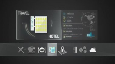 Hotel icon for travel contents.Digital display application. — Stock Video