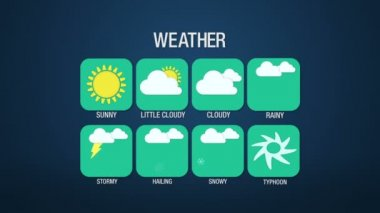 Weather icon set animation, sunny, little cloudy, cloudy, rainy, stormy, hailing, snowy, typhoon — Stock Video