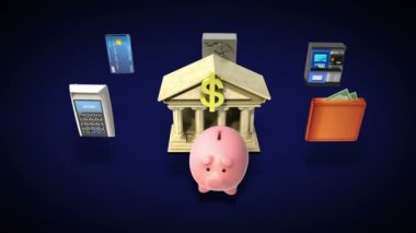 Management bank account, banking life animation — Stock Video