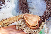 Wooden decorations on a picnic — Stock Photo