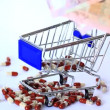 Small shopping cart with pills — Stock Video #69520073