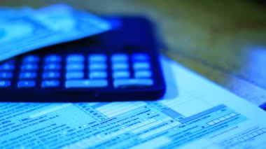 Tax documents, calculator and money — Stock Video
